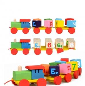 Tren din Lemn cu Cuburi Rotative Cifre si Litere0