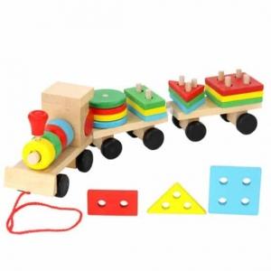 Trenulet  din lemn cu forme geometrice0