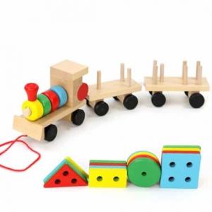 Trenulet  din lemn cu forme geometrice1