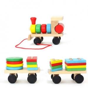 Trenulet  din lemn cu forme geometrice2