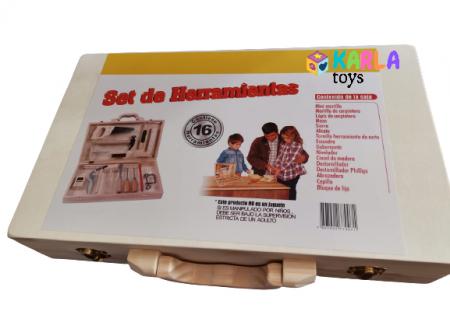 Trusa de scule din lemn - Set scule tamplarie copii1