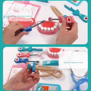 Trusa Dentist de  jucarie pentru copii cu accesorii din lemn4
