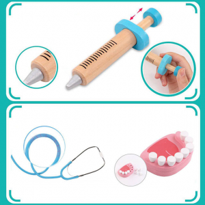 Trusa Dentist de  jucarie pentru copii cu accesorii din lemn5
