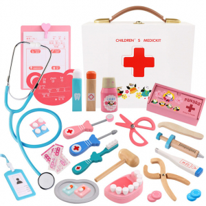 Trusa Dentist de  jucarie pentru copii cu accesorii din lemn0