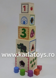 Turn Cuburi din Lemn - Set Cuburi din Lemn Montessori0