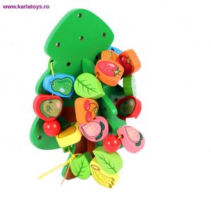 Jucarie Montessori  sa insiruim Pomul cu Fructe  din lemn0