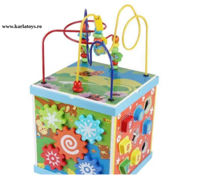 Cub Multifunctional  Albastru din Lemn cu Joc Magnetic Montessori2