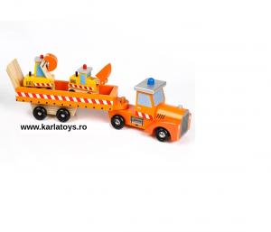 Camion cu Utilaje din Lemn Engineering Vehicles pentru Copii0