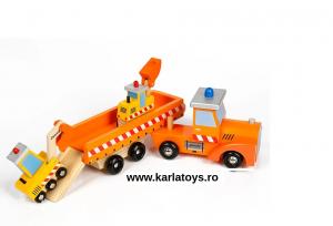 Camion cu Utilaje din Lemn Engineering Vehicles pentru Copii1