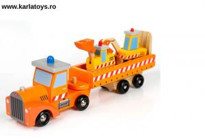 Camion cu Utilaje din Lemn Engineering Vehicles pentru Copii3