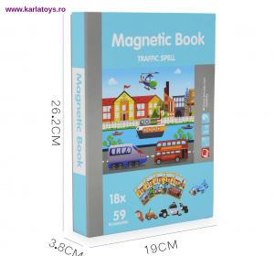 Carte Magnetica Puzzle Vehicule 3D pentru copii0