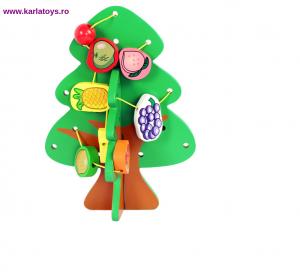 Jucarie Montessori  sa insiruim Pomul cu Fructe  din lemn1