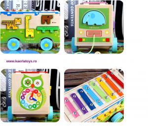 Jucarie din lemn educationala Autobuzul cu animale si Xilofon2