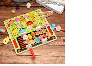 Joc din lemn copii puzzle Gratarul Barbecue Shop0