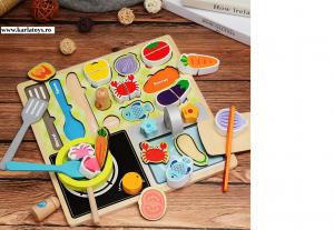 Joc din lemn copii puzzle Gratarul Barbecue Shop5