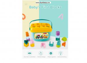 Set Galetusa Sortator Forme gometrice Litere - Baby's first block Huanger1