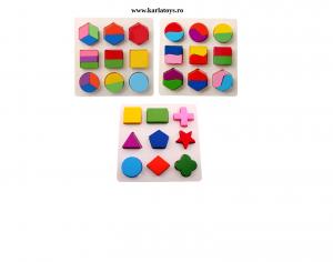 Set 2 Puzzle Sortator  Forme geometrice  Montessori 3D0