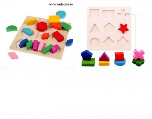 Set 2 Puzzle Sortator  Forme geometrice  Montessori 3D1