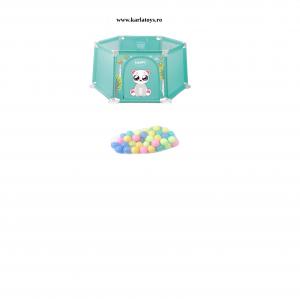 Tarc bebe Hexagonal cu 50 de bile si mini cos Happy Panda 145 de cm culori pastel0