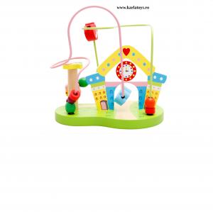 Joc Montessori Circuit cu ceas din lemn0