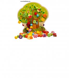 Jucarie de Lemn Snuruit Copacul - Anotimpurile cu margele si fructe 102 piese0