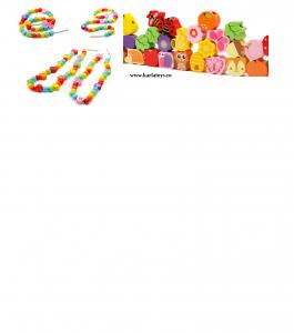 Jucarie de Lemn Snuruit Copacul - Anotimpurile cu margele si fructe 102 piese5