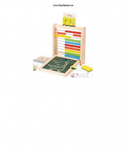 Abac cu Tabla cu 2 Fete din Lemn cu Accesorii 4 in 17