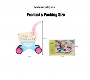 Carucior de cumparaturi din lemn cu accesorii Happy Shopping [4]