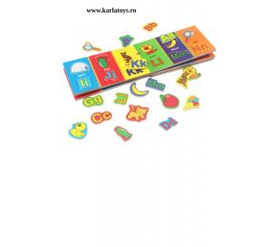 Carte din lemn Alfabet si imagini magnetice0