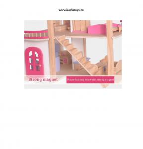 Casuta din Lemn Papusi cu Accesorii Pink House6