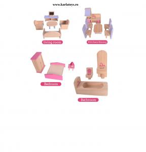 Casuta din Lemn Papusi cu Accesorii Pink House3