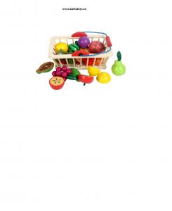 Cosulet din lemn  cu fructe de feliat 16 piese0