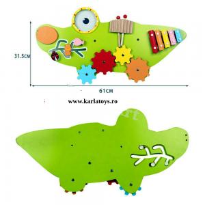 Placa Senzoriala  din Lemn Crocodil - Panou Acctivitatii Copii de perete2