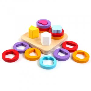 Joc lemn montessori sortator forme geometrice 4 coloane0