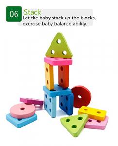 Joc lemn stivuire forme geometirce fracti si intreg 5 coloane  Geometric Stacker Chunky Board8