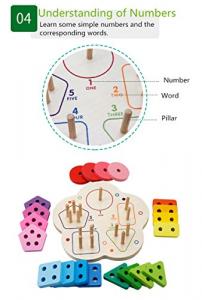 Joc lemn stivuire forme geometirce fracti si intreg 5 coloane  Geometric Stacker Chunky Board6