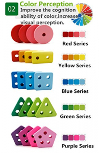 Joc lemn stivuire forme geometirce fracti si intreg 5 coloane  Geometric Stacker Chunky Board4