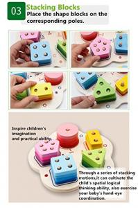 Joc lemn stivuire forme geometirce fracti si intreg 5 coloane  Geometric Stacker Chunky Board5