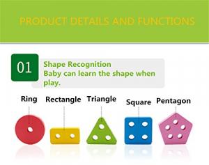 Joc lemn stivuire forme geometirce fracti si intreg 5 coloane  Geometric Stacker Chunky Board3