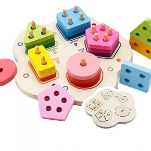 Joc lemn stivuire forme geometirce fracti si intreg 5 coloane  Geometric Stacker Chunky Board0