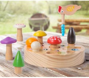 Joc din Lemn Montessori Magnetic Ciuperci de cules3