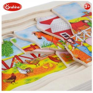 Joc din lemn Puzzle in straturi Onshine Animale4