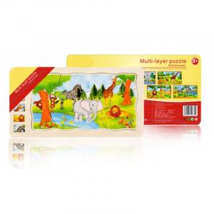 Joc din lemn Puzzle in straturi Onshine Animale5