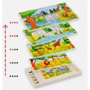 Joc din lemn Puzzle in straturi Onshine Animale6