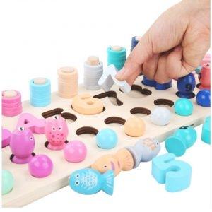 Joc Montessorii din Lemn 4 in 1 - Joc de Pescuit si Cifre 4 in 12