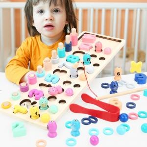 Joc Montessorii din Lemn 4 in 1 - Joc de Pescuit si Cifre 4 in 14