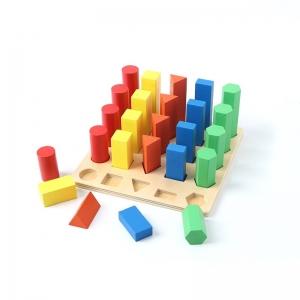 Joc lemn montessori forme geometrice - Joc Montessori Scara din lemn învățare lungime formă geometrică [3]