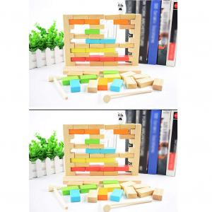 Joc din Lemn Cuburi de construit Zidul - Joc Puzzle Educativ Zidul6