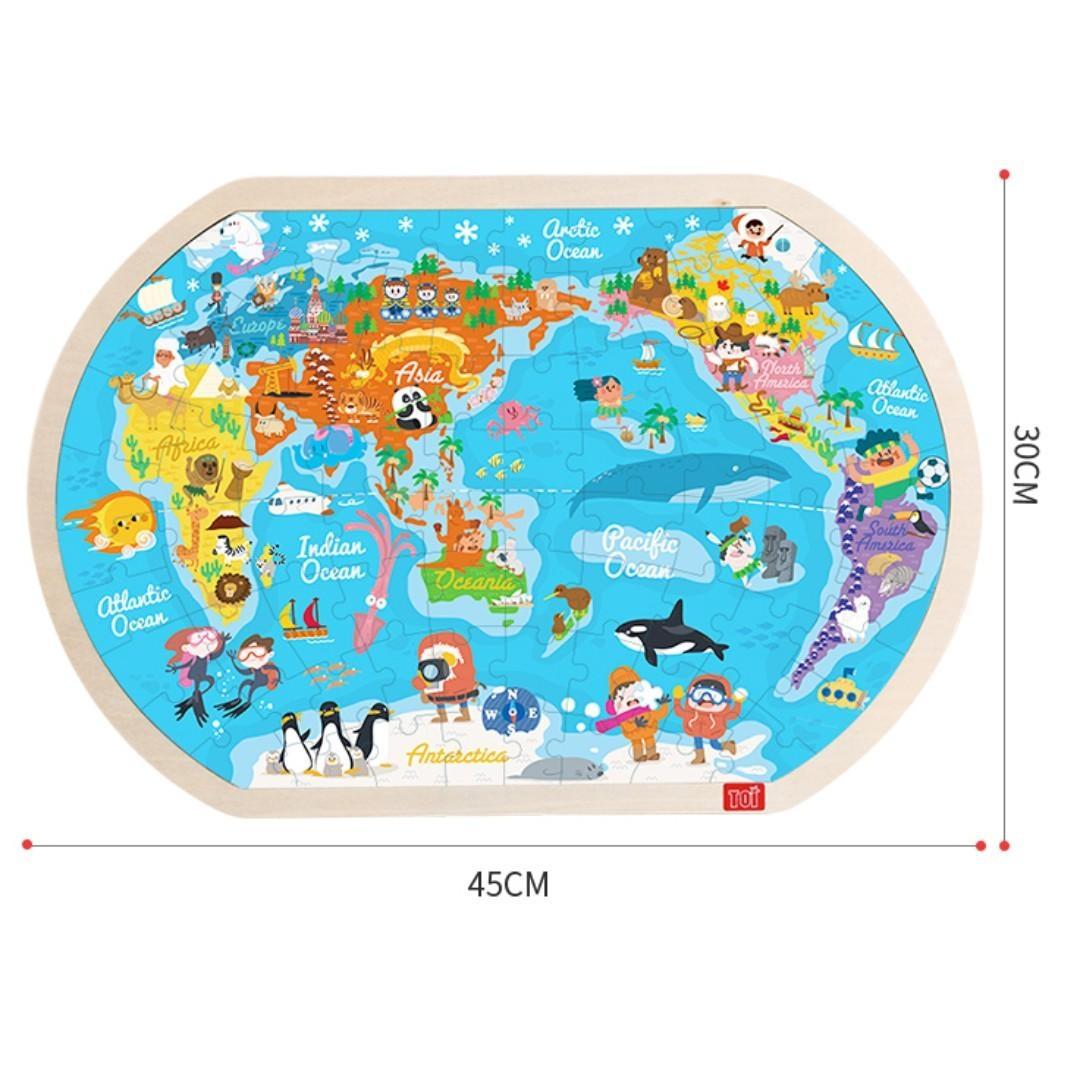 Joc Lemn Puzzle Harta Lumii Harta Lumii Puzzle Cu Imaginii 80 Piese