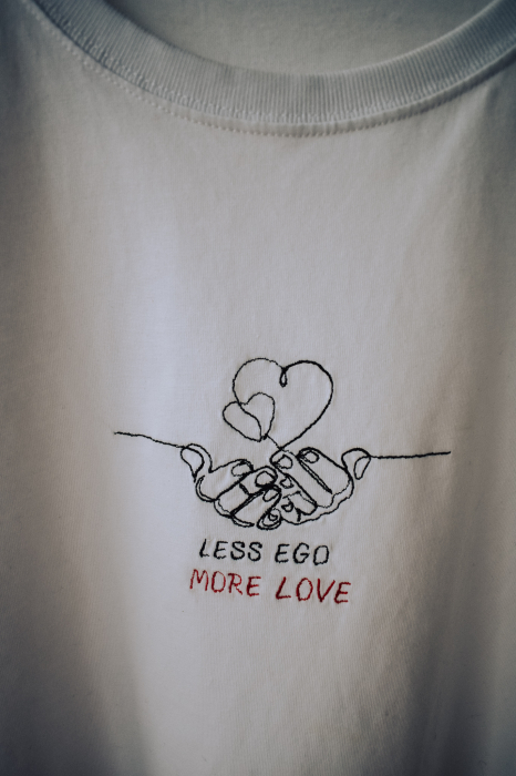 Tricou alb brodat LESS EGO MORE LOVE 0